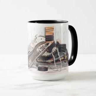 Vintage Hockey Goalie Skates Mask Large Coffee Mug