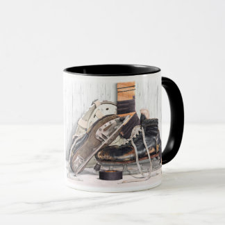 Vintage Hockey Goalie Skates Mask Stick Coffee Mug