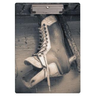 Vintage hockey skate BW Clipboard