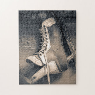 Vintage hockey skate BW Jigsaw Puzzle