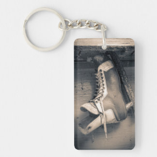 Vintage hockey skate BW Keychain
