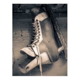 Vintage hockey skate BW Postcard