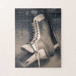 Vintage hockey skate BW Puzzle