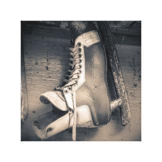 Vintage hockey skate canvas print