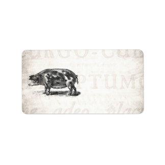 Vintage Hog Illustration on Old Paper 1800s Pig Custom Address Labels