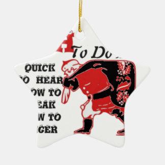 Vintage HOhoho! Special Santa Things to do list.pn Ceramic Ornament
