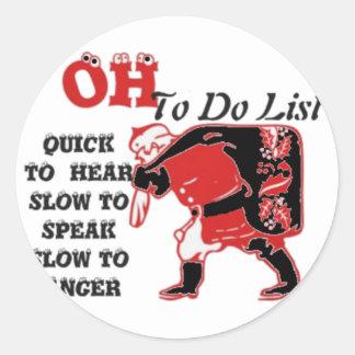 Vintage HOhoho! Special Santa Things to do list.pn Classic Round Sticker