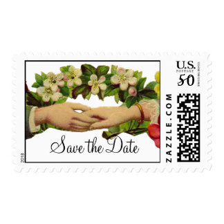 Vintage Holding Hands Save the Date Stamp