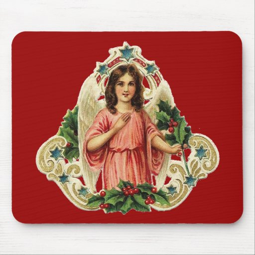 Vintage Holiday Angel Mouse Pad