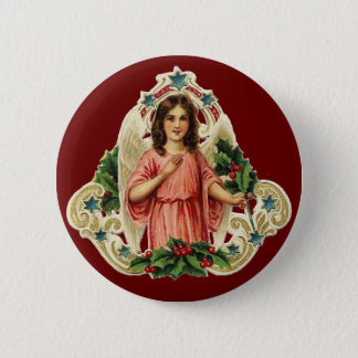 Vintage Holiday Angel Pinback Button