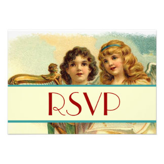 Vintage Holiday Angels Singing RSVP Response Invite