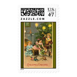 Vintage Holiday Art on Festive Postage Stamps