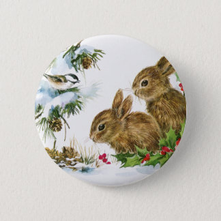 Vintage Holiday Bird and Bunnies Button