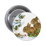 Vintage Holiday Bird and Bunnies 2 Inch Round Button