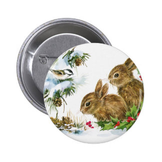 Vintage Holiday Bird and Bunnies Pinback Button