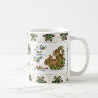 Vintage Holiday Bird and Bunnies Coffee Mug