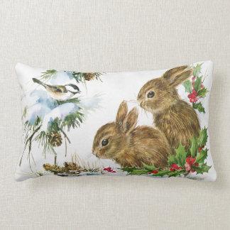 Vintage Holiday Bird and Bunnies Lumbar Pillow