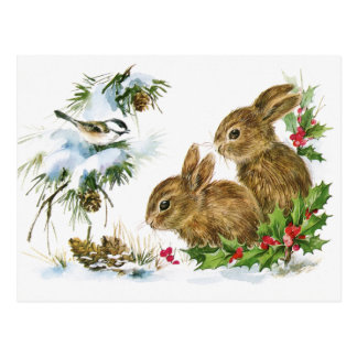 Vintage Holiday Bird and Bunnies Postcard