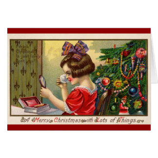 Vintage Holiday Card Cute little girl