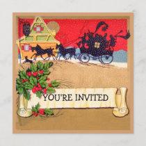 Vintage holiday, Christmas coach horses invitation