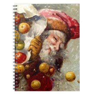 Vintage Holiday Cookbook Apple Santa Notebook