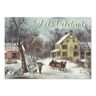 Vintage Holiday Currier & Ives Christmas Party Card