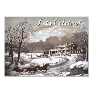 Vintage Holiday Currier & Ives Christmas Party Cards