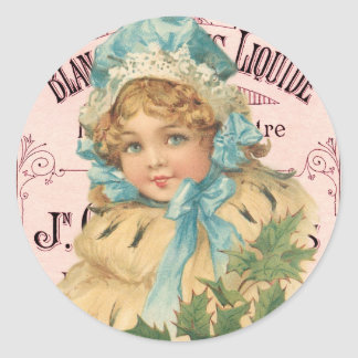 Vintage Holiday Cute Girl Christmas Holly Pink Ad Classic Round Sticker