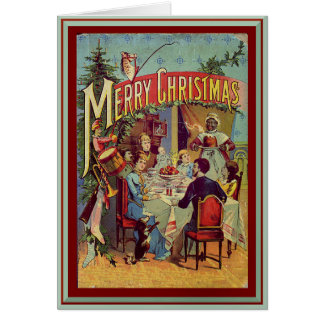 Vintage Holiday Dinner Merry Christmas Personalize Card