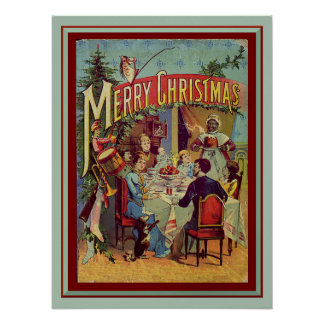Vintage Holiday Dinner Merry Christmas Print