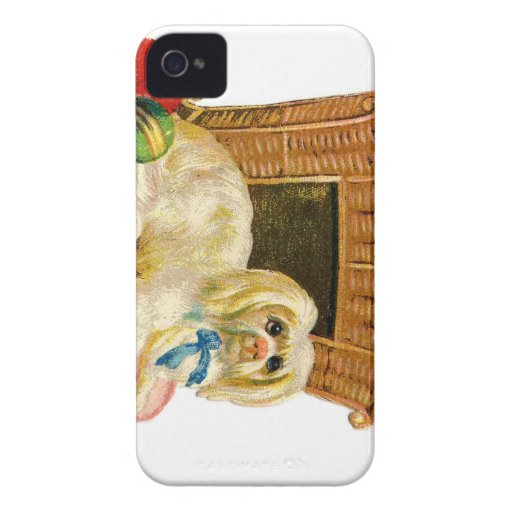 Vintage Holiday Dog iPhone 4 Case-Mate Cases