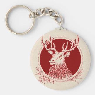 Vintage Holiday Elk Print Basic Round Button Keychain
