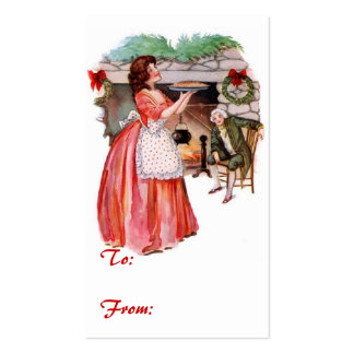 Vintage Holiday Gift Tag Double-Sided Standard Business Cards (Pack Of 100)