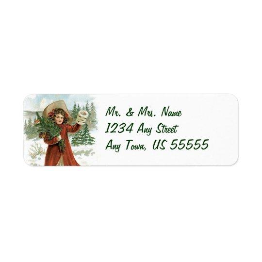 Vintage Holiday Girl Address Labels