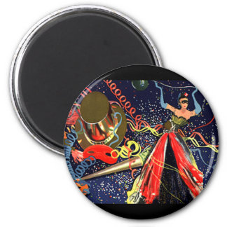 Vintage Holiday Happy New Years Eve Party Confetti 2 Inch Round Magnet