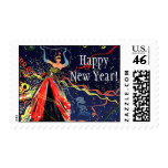 Vintage Holiday Happy New Years Eve Party Confetti Postage Stamps