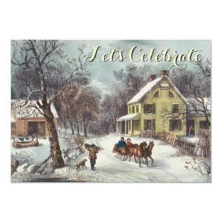 Vintage Holiday Ives Christmas Party Card at Zazzle