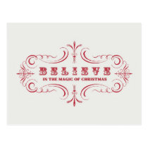 Vintage Holiday-red and white-Believe- Postcard