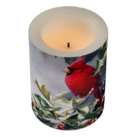 Vintage Holiday Red Cardinal and Holly Flameless Candle