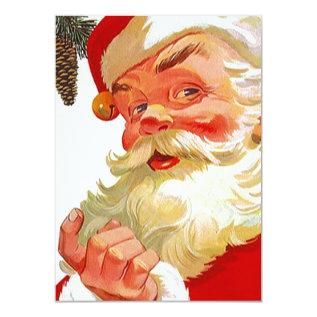 Vintage Holiday Santa Open House Invitations at Zazzle