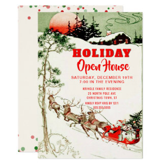 Vintage Holiday Santa Reindeer Open House Party Card