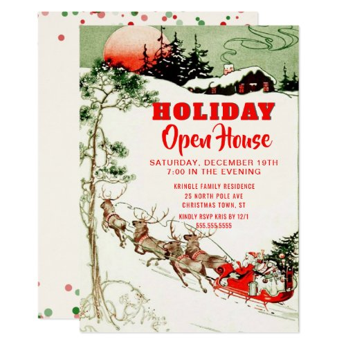 Vintage Holiday Santa Reindeer Open House Party Invitation
