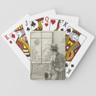 Vintage Holiday scene painting with a dog deck Playing Cards