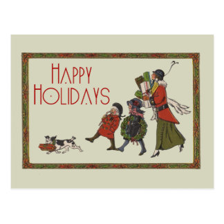 Vintage Holiday Shopping Postcard