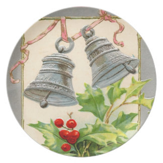Vintage Holiday Silver Bells Party Plate