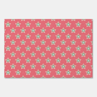 Vintage Holiday Stars Pattern Lawn Sign