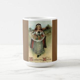 Vintage Holiday Thanksgiving Pilgrim Woman Mug