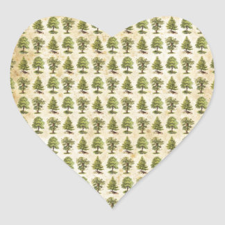 Vintage Holiday Trees Pattern Heart Sticker