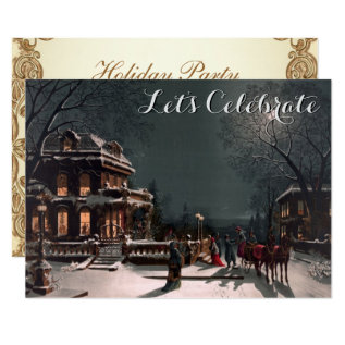 Vintage Holiday Victorian Christmas Party Card at Zazzle