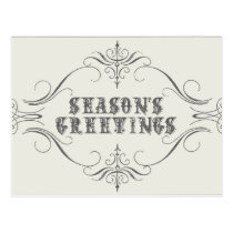Vintage Holiday-white-Season's Greetings Postcard